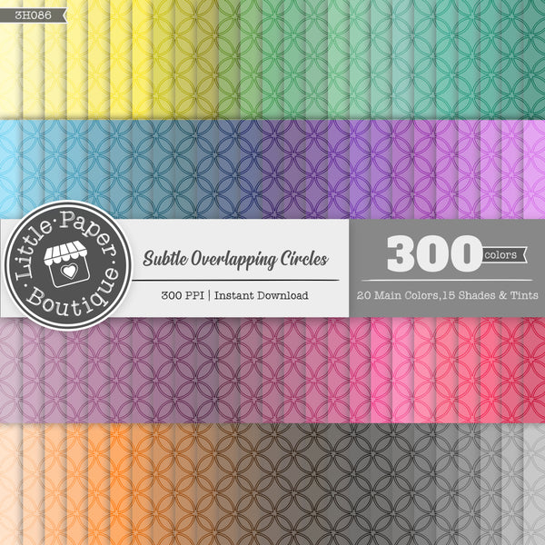 Rainbow Subtle Overlapping Circles Outline Overlay Digital Paper 3H086