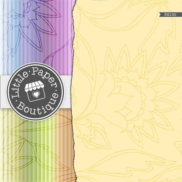 Rainbow Large Scale Flower Doodle Digital Paper 3H100