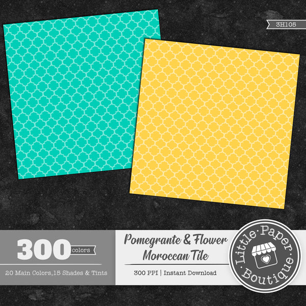 Rainbow Pomegranate Flower Moroccan Solid Tile Digital Paper 3H105