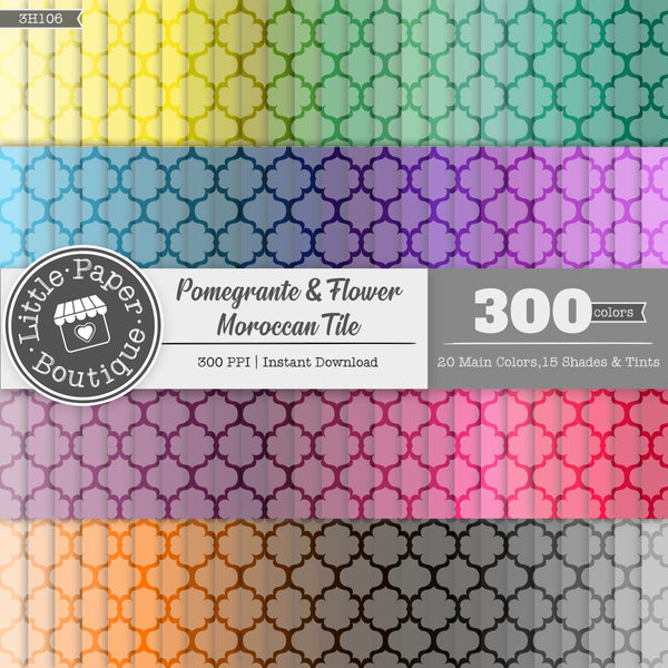Rainbow Pomegranate & Flower Moroccan Tile Digital Paper 3H106