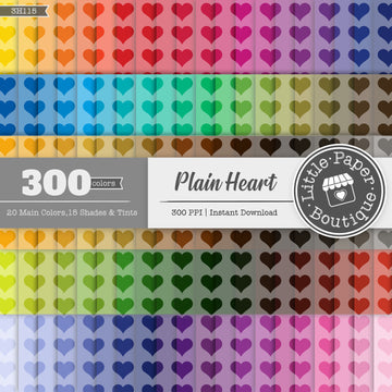 Rainbow Plain Heart Digital Paper 3H115