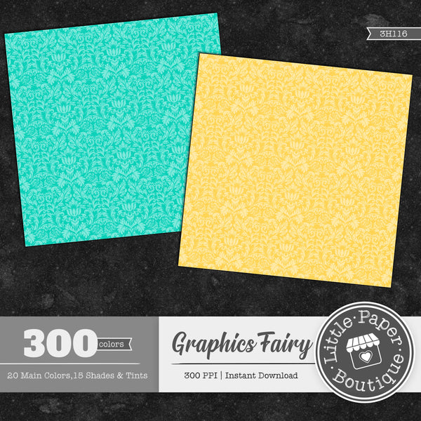 Rainbow Graphics Fairy Bold Damask Digital Paper 3H116
