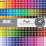 Rainbow Argyle Digital Paper 3H119