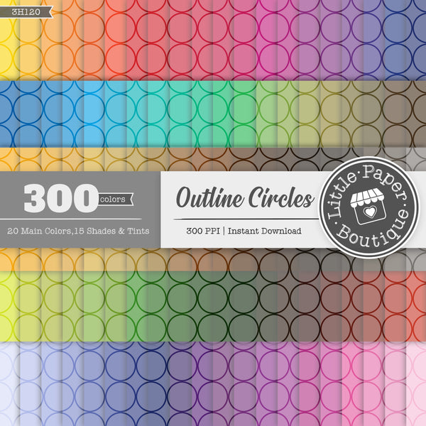 Rainbow Outline Circles Overlay Digital Paper 3H120