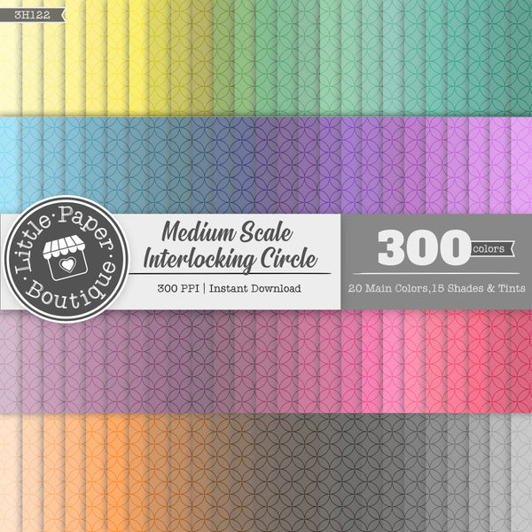Rainbow Medium Scale Interlocking Circle Digital Paper 3H122
