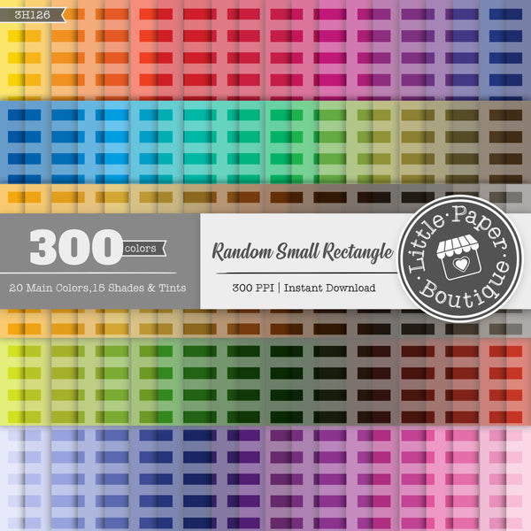 Rainbow Random Small Rectangle Digital Paper 3H126