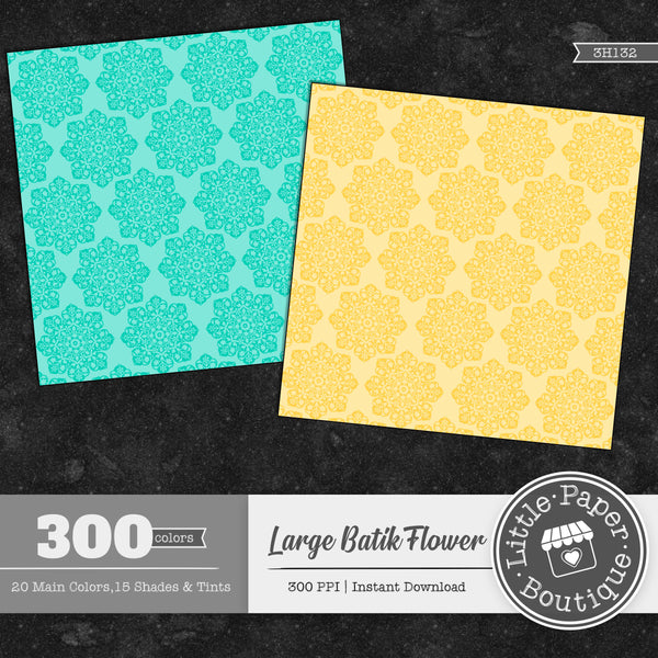 Rainbow Large Batik Flower Digital Paper 3H132