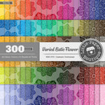 Rainbow Varied Batik Flower Digital Paper 3H134