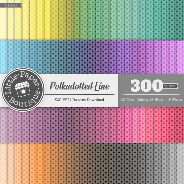 Rainbow White Polka Dotted Line Digital Paper 3H151