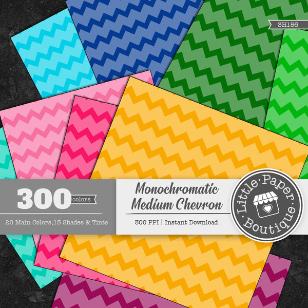 Rainbow Monochromatic Medium Chevron Digital Paper 3H156