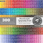 Rainbow Monochromatic Typography Script Digital Paper 3H158