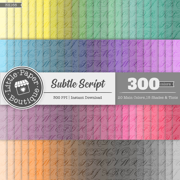 Rainbow Subtle Script Digital Paper 3H165
