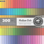 Rainbow Black Medium Dots Digital Paper 3H170