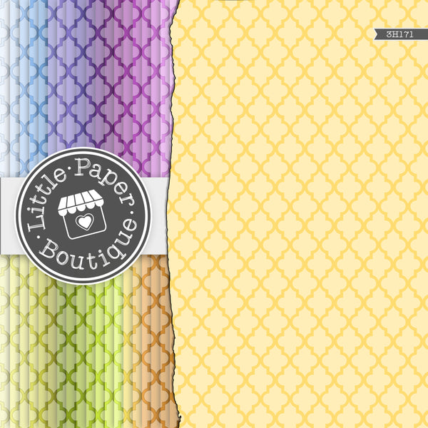 Rainbow Black Large Moroccan Tile Digital Paper 3H171