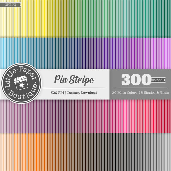 Rainbow Black Pin Stripe Digital Paper 3H173