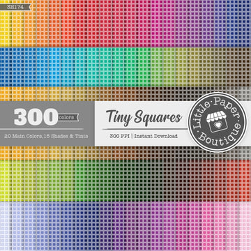 Rainbow Black Tiny Squares Digital Paper 3H174