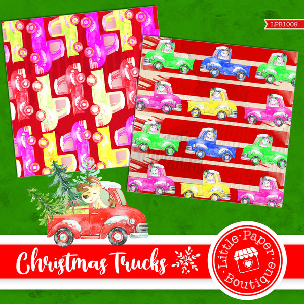 Christmas Trucks Digital Paper LPB1009