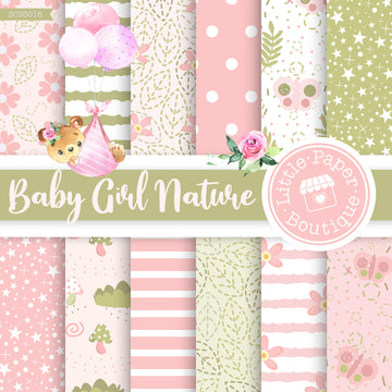 Baby Girl Nature Seamless Digital Paper SCS0016