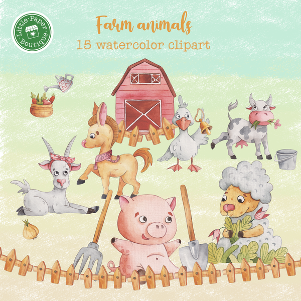 Farm Animals Digital Clipart CA002