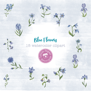 Blue Flowers Digital Clipart CA009