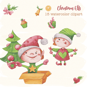 Christmas Elfs Digital Clipart CA016