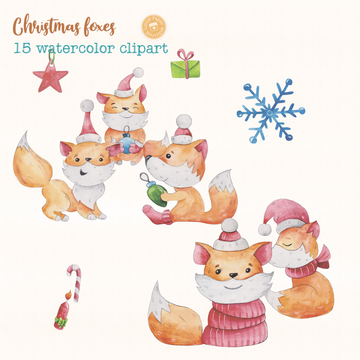 Christmas Foxes Digital Clipart CA017