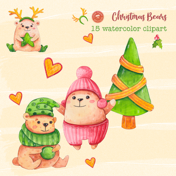 Christmas Bears Digital Clipart CA020