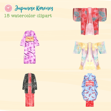 Japanese Kimonos Digital Clipart CA110