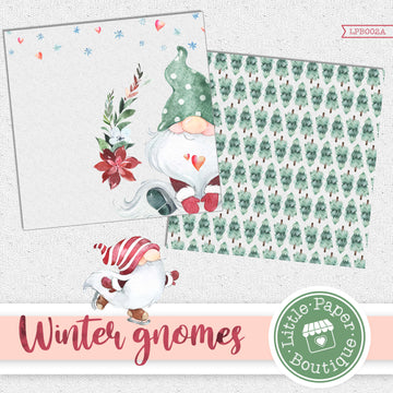 Winter Gnomes Watercolor Digital Paper LPB002A