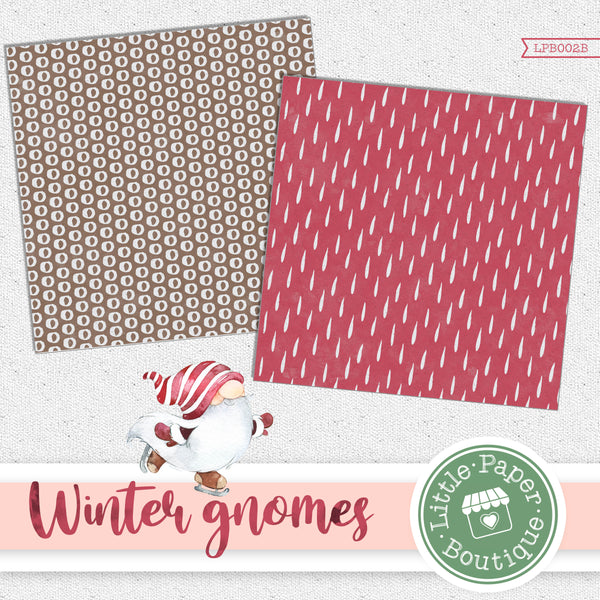 Winter Gnomes Watercolor Digital Paper LPB002B
