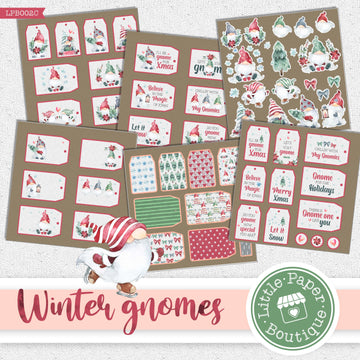 Winter Gnomes Watercolor Ephemera Tags Digital Paper LPB002C