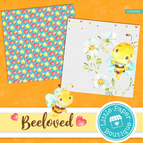 Bee-loved Watercolor Digital Paper LPB003A