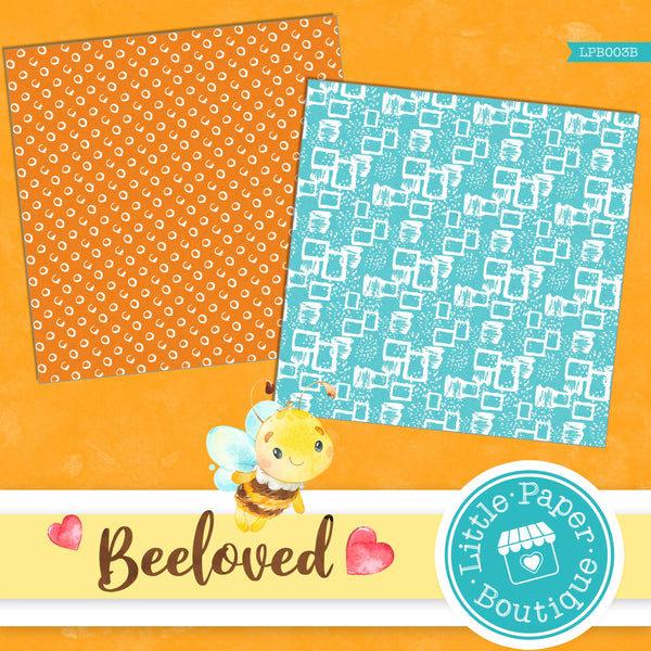 Bee-loved Watercolor Digital Paper LPB003B