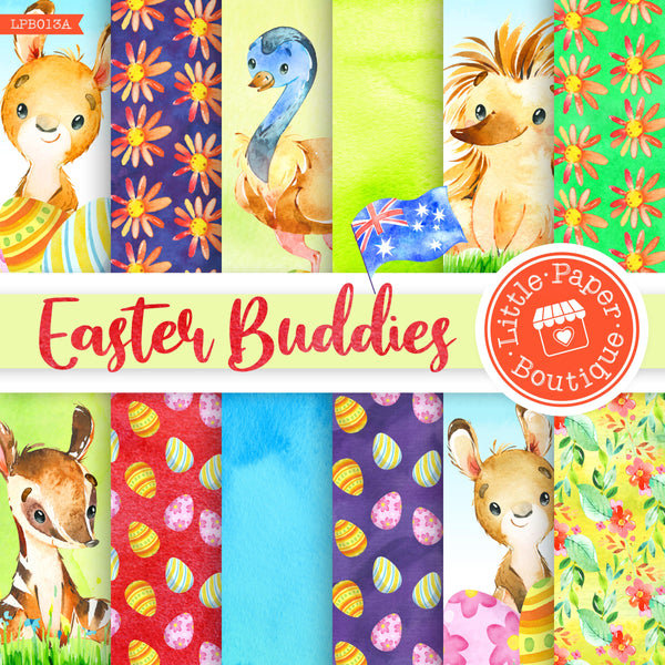 Easter Australian Buddies Watercolor Digital Paper LPB013A