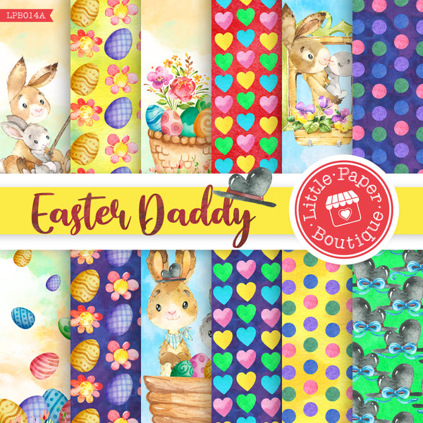 Easter Daddy Rabbit Watercolor Digital Paper LPB014A