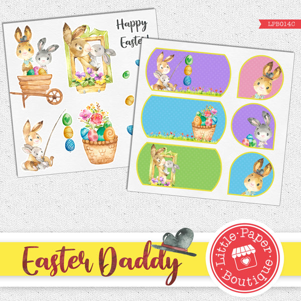 Easter Daddy Rabbit Watercolor Ephemera Tags Digital Paper LPB014C