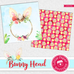Easter Spring Bunny Head Watercolor Digital Paper LPB015A