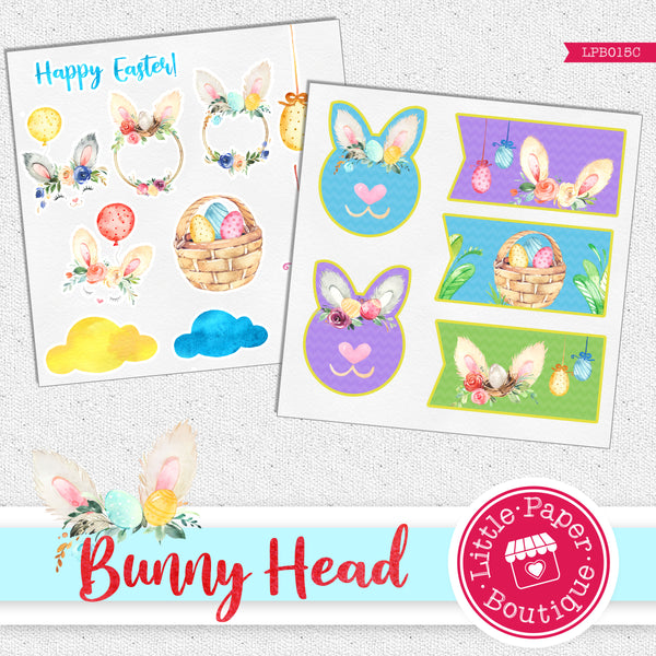 Easter Spring Bunny Head Watercolor Ephemera Tags Digital Paper LPB015C