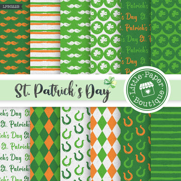 St Patrick's Day Watercolor Digital Paper LPB022B