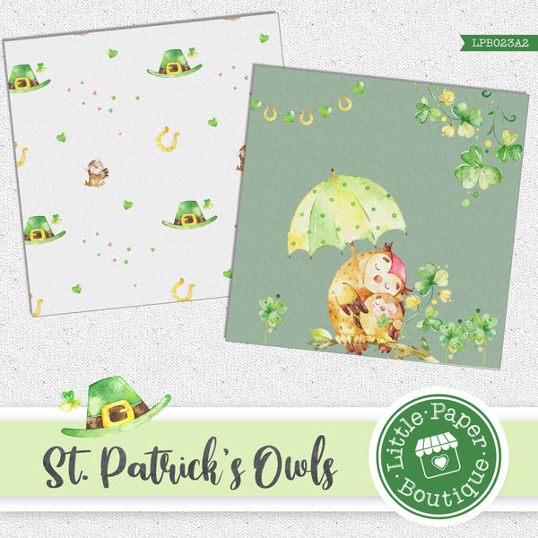 St Patrick's Day Owls Watercolor Digital Paper LPB023A2