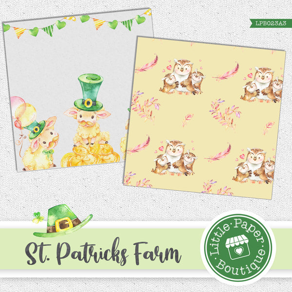 St Patrick's Day Owls Watercolor Digital Paper LPB023A3