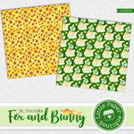 St Patrick's Day Fox and Bunny Watercolor Digital Paper LPB025A