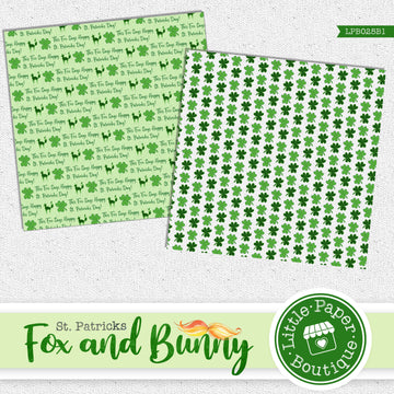 St Patrick's Day Fox and Bunny Watercolor Digital Paper LPB025B1