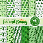 St Patrick's Day Fox and Bunny Watercolor Digital Paper LPB025B2