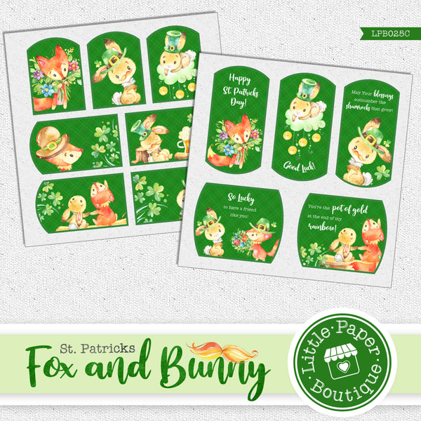 St Patrick's Day Fox and Bunny Watercolor Ephemera Tags Digital Paper LPB025C