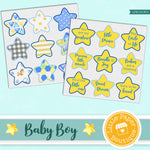Baby Boy Watercolor Ephemera Tags Digital Paper LPB1013C1