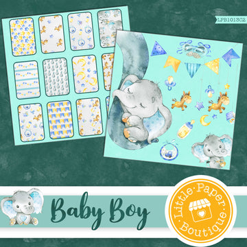 Baby Boy Watercolor Ephemera Tags Digital Paper LPB1013C