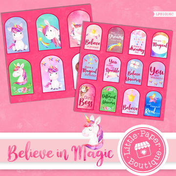 Believe in Magic Watercolor Ephemera Tags Digital Paper LPB1016C