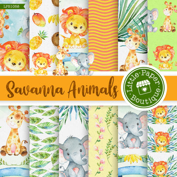 Savannah Animals Watercolor Digital Paper LPB1058A