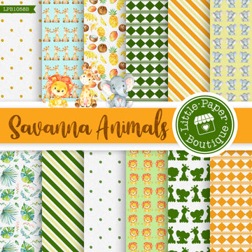Savannah Animals Watercolor Digital Paper LPB1058B